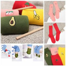 Casual Long New Cartoon Warm Cotton High Socks 3D Fruit Embr