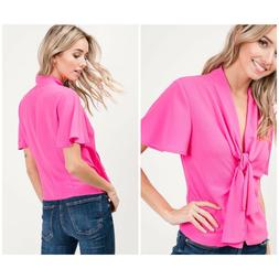 IDEM DITTO Hot Pink Bell Sleeves Top Retails $48