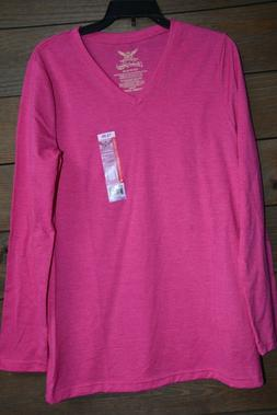 Hot pink Faded Glory long sleeve Vneck  Tshirt New W/ Tags