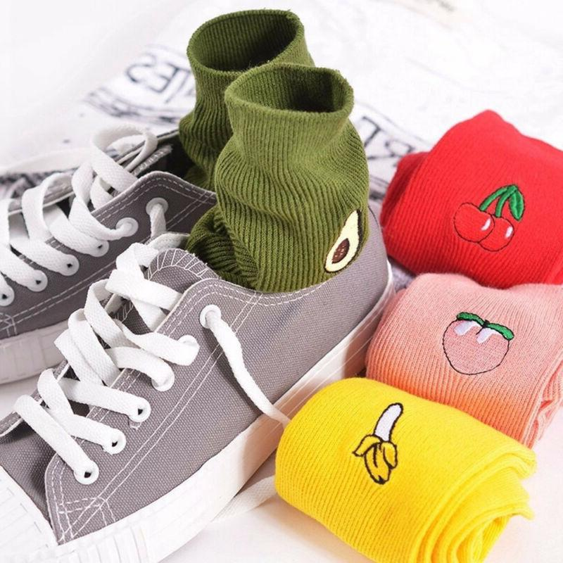 Casual Long New Warm High Socks 3D Fruit Embroidery HOT