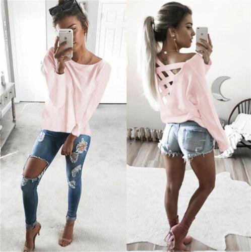 Hot Womens Long Sleeve Tops Blouse Shirt