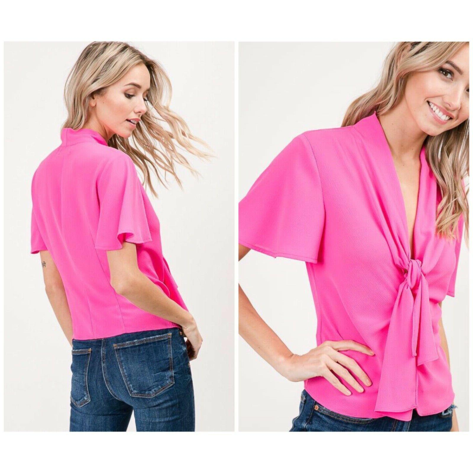 hot pink bell sleeves top retails 48