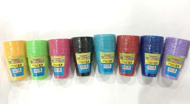new 36x disposable cups coloured plastic drinking