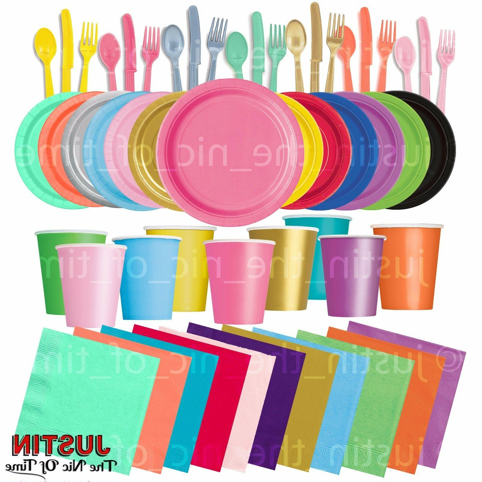 Plain Disposable Solid Colours Party TABLEWARE Events Cateri