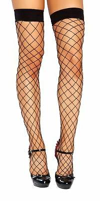 Thigh High Open Fishnet Stocking - STC207-Blk-O/S -