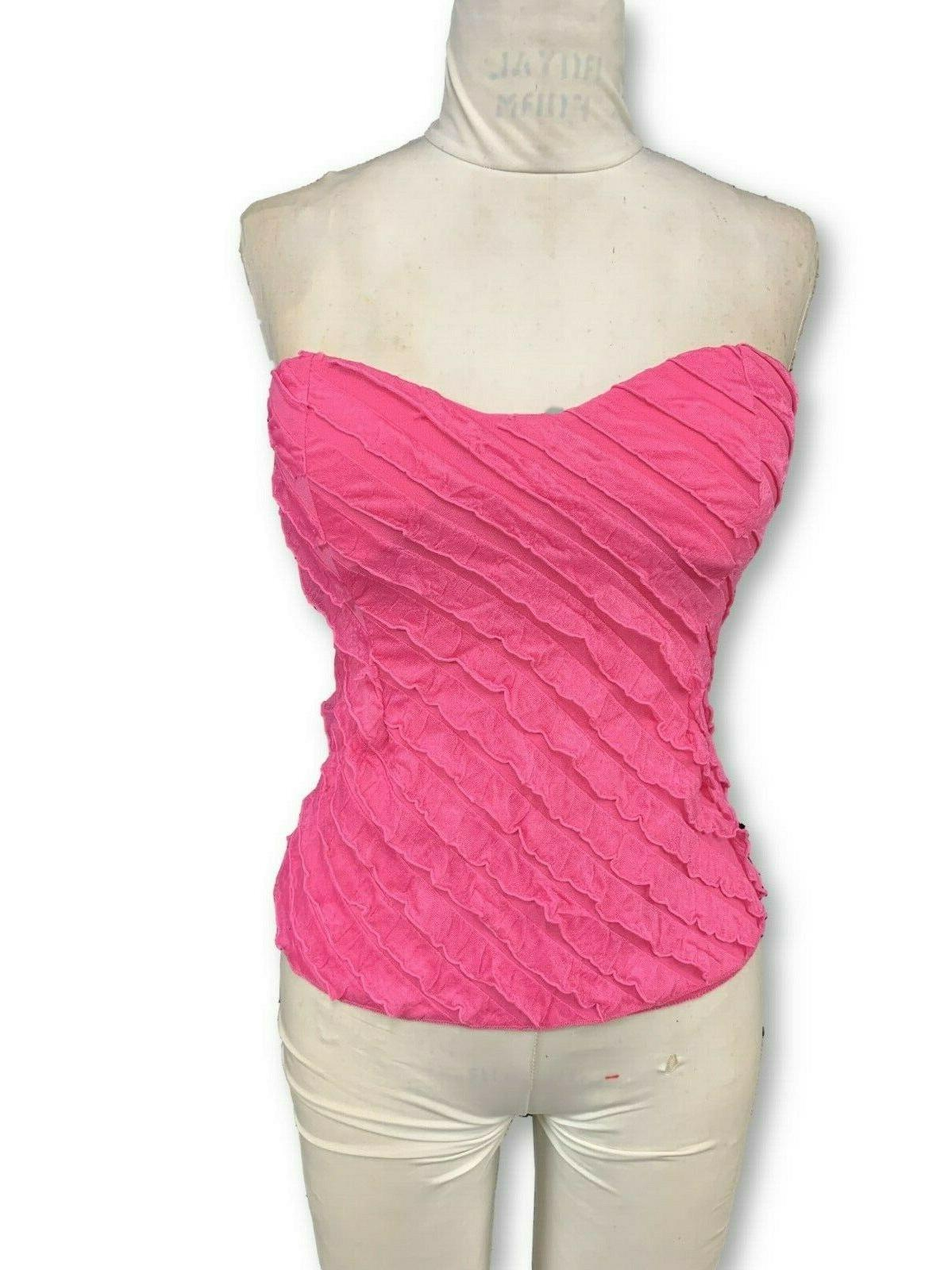 Womens Pink Ruffle Strapless With Built in Bra -