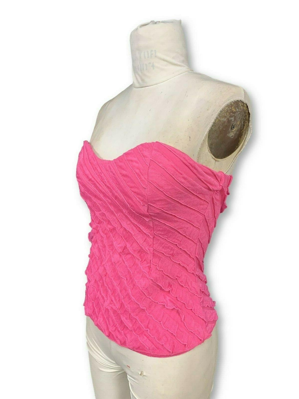 Womens Pink Strapless Top With Bra - S-XL