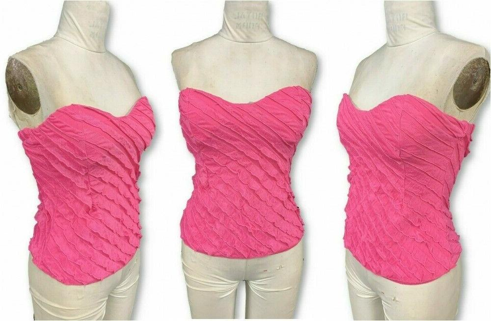 womens hot pink ruffle strapless tube top