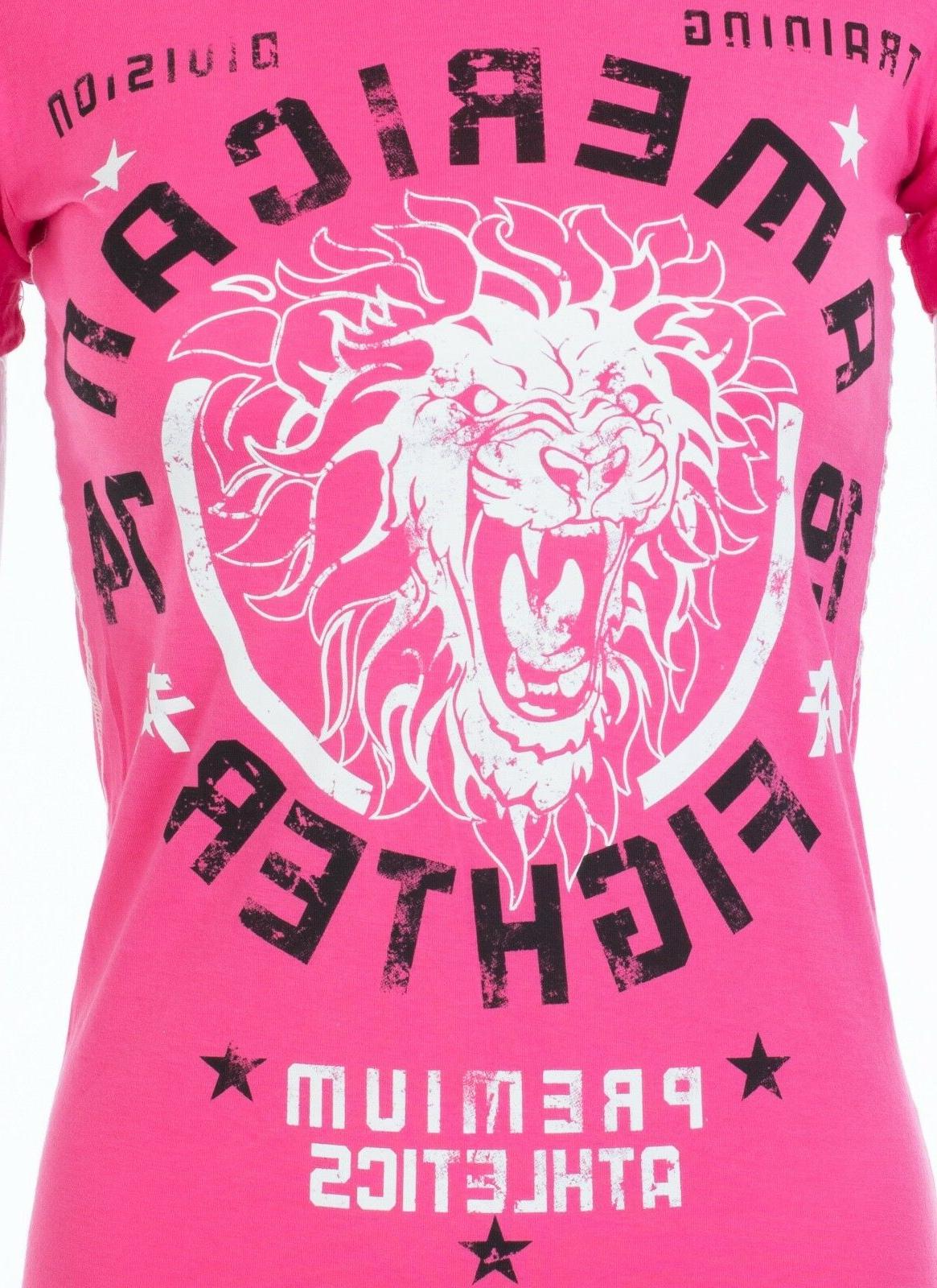 AMERICAN FIGHTER T-Shirt COLUMBIA Athletic PINK Biker $40