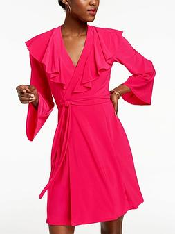 TAYLOR New 6 Hot Pink Ruffle Wrap Dress Bell Sleeve S/M Tie-