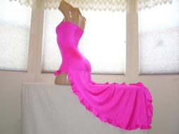 New Stripper Exotic Dancer Hot *Pink* Ruffle Salsa Dress S/M