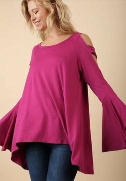 NWT Designer Umgee Hot Pink Raspberry Bell Sleeve Cold Shoul