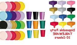 PLAIN DISPOSABLE PAPER PARTY TABLEWARE WEDDING COLOURS BIRTH