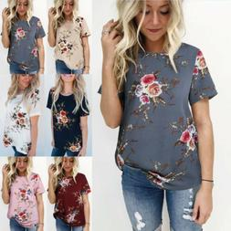 Plus Size Women's Blouse Short Sleeve Floral Print T-Shirt C