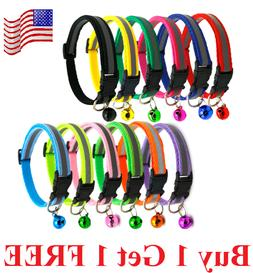 Reflective Breakaway Nylon Cat Safety Collar with Bell for C