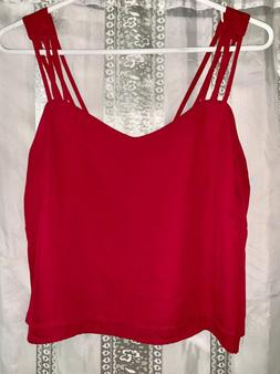 Small Hot pink spaghetti strap crop top open back Blouse
