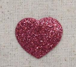 Small/Mini Heart - Hot Pink Glitter/Sparkle - Embroidered Pa