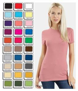 T Shirt Crew Short Sleeve Basic Round Neck Stretch Zenana S/