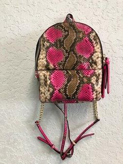 Victoria's Secret Hot Pink and Brown Python Mini Backpack