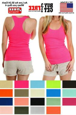 Women Lady Soft Seamless Ribbed Racer Back Stretch Tank Top