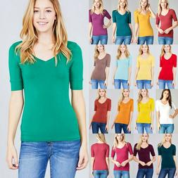 Women's V-Neck Elbow 3/4 Cuff Sleeve Basic T-Shirt Soft Stre