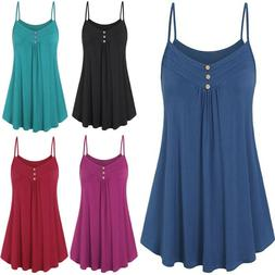 Women Summer Loose Button V Neck Cami Tank Tops Vest Blouse
