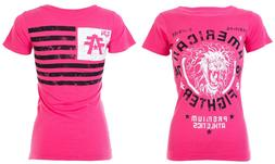 AMERICAN FIGHTER Womens T-Shirt COLUMBIA Athletic HOT PINK B