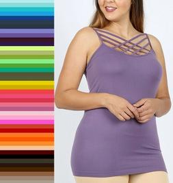 Zenana Triple Criss Cross Caged Long Seamless Cami Tank Top