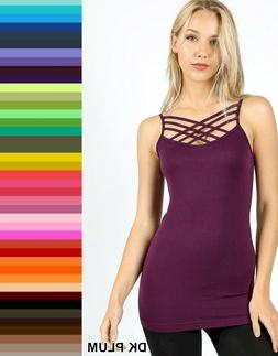Zenana Caged Cami Tank Top Triple Criss Cross Seamless Stret